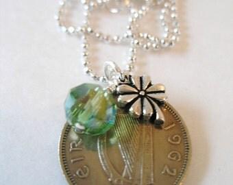 1962 IRISH Shilling Coin Charm Necklace-1962 SILVER Irish Scilling Irish Necklace