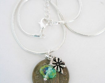 1963 IRISH Coin Charm Necklace-1963 SILVER Irish Scilling Ireland Necklace