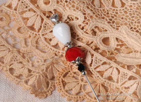 "Queen of Hearts Stick Pin, 3"" Crystal Stick Pin, Hat Pin, Scarf Pin, Hijab Pin, Scrapbooking Pin KC0198"