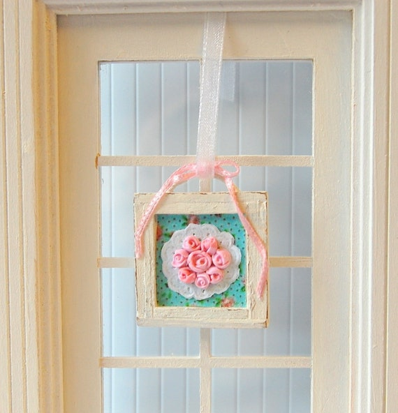 Dollhouse Miniature Shabby Chic Framed Pink Rose Wall Hanging