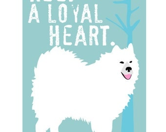 Samoyed Husky Dog Art Print Wall Decor Poster
