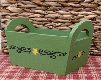 Wooden Basket, Painted Wood, Primitive Decor, Rustic, Country Basket, Remote Holder, Catch All Basket, Sage Green, Yellow Star, Black Swirls
