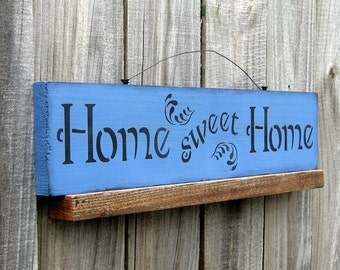 Home Sweet Home, Painted Wood Sign, Home, Family, Home Decor, Home Sign, Rustic Wall Decor, Primitive Sign, Liberty Blue, Black Lettering