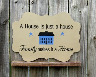 House Sign, Family Sign, Home,  Primitive Saltbox, Rustic, Hand Painted Sign, Laser Cut, Wood Sign, Tan, Black Lettering, Blue Saltbox House