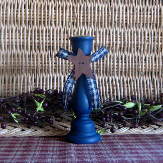 Primitive Candle Holder, Painted Wood, Taper Candle, Navy Blue, Blue Checked Ribbon, Rusty Star