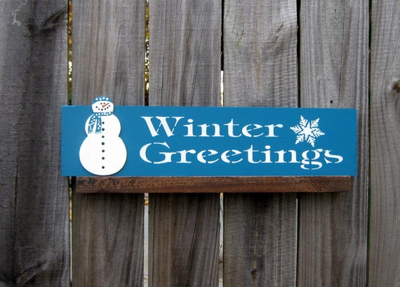 Winter Greetings Sign, Turquoise with White Lettering and Snowman