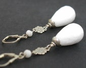 White Jade Drop Sterling Silver Flower Earrings Long Faceted Stone