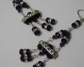 Dark Purple Crystal Chandelier Earrings Sterling Silver Rhinestone Art Deco Style