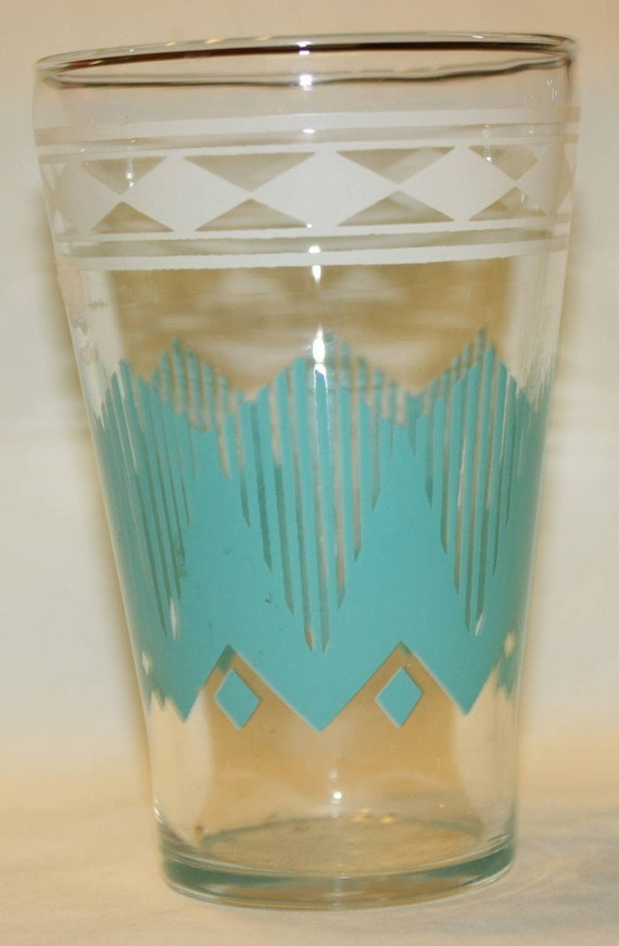 Reserved for Holly Vintage 50's Retro White and Turquoise Glass