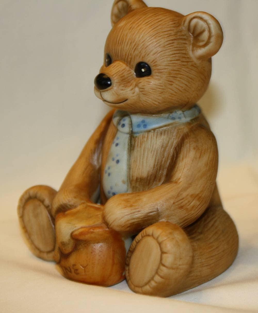 Pair Of Vintage Home Interior Teddy Bear Figurines