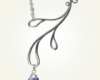 Teardrop Necklace, Amethyst Necklace, Amethyst Pendant, HAMA RIKYU NECKLACE with Amethyst.