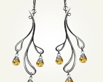 Teardrop Earrings, Sterling Silver, Handcrafted, Citrine, Yellow Gemstone, Wedding, Branch, November. HAMA RIKYU EARRINGS with Citrine.