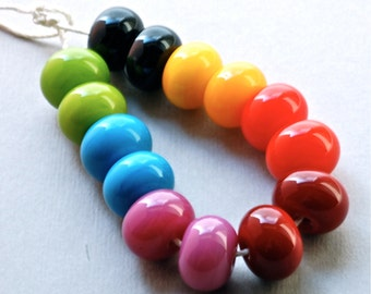 handmade lampwork glass beads rainbow color  lampwork by Paulbead set of 14 round beads