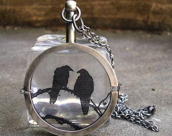 Raven Locket - Hand Made Silver Locket - Black Raven Necklace - Raven Sterling Silver Locket - Nevermore Raven Pendant - Black Bird Locket