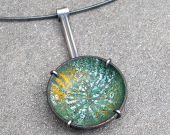 Enamel Necklace - Enamel Pendant - Green Enamel Necklace - Sgraffito Enamel Pendant - Enamel Silver Necklace - Enamel Sterling Necklace