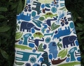 little boys size 9 months reversible  romper blue 2-D zoo animals