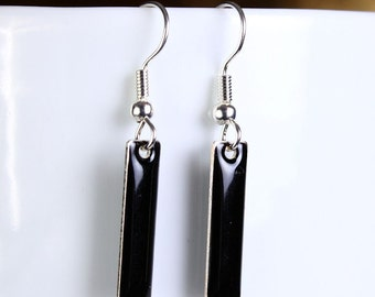 Jet black drop surgical steel hypoallergenic earrings READY to ship (251) - Flat rate shipping