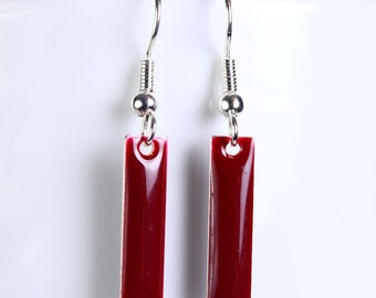 Cranberry epoxy drop surgical steel hypoallergenic earrings (254) - Flat rate shipping