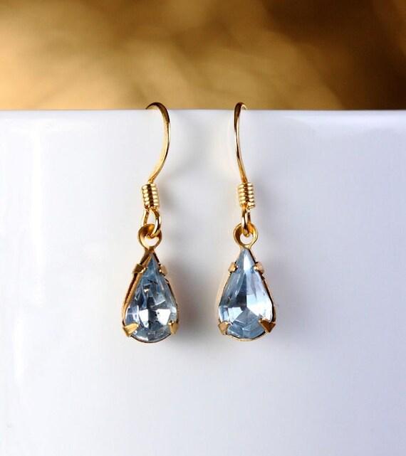Sapphire blue glass dangle earrings (274) - Flat rate shipping