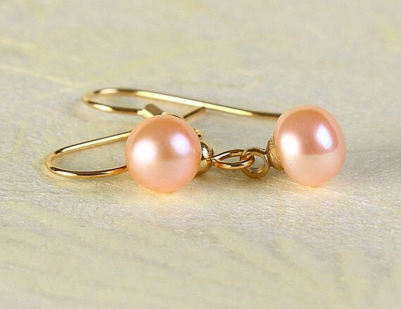 Peach pink glass pearl surgical steel hypoallergenic dangle earrings (360) - Flat rate shipping