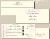 Elegant Boarding Pass Wedding Invitation with perforated rsvp - Voyage