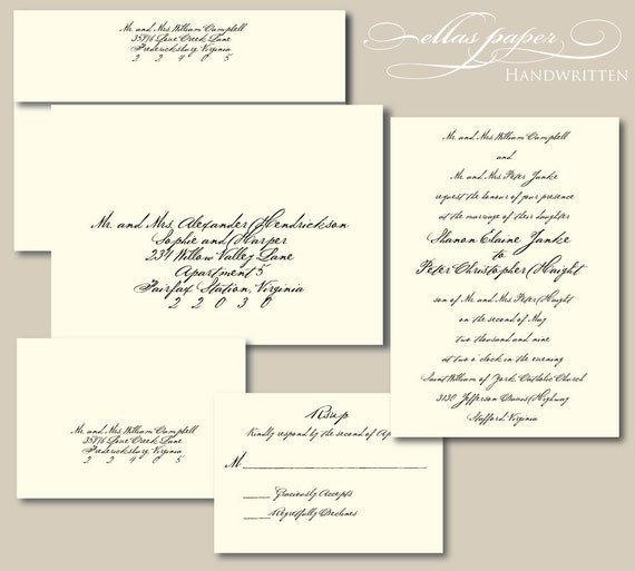 Handwritten Wedding Invitations Envelopes: Items Similar To Handwritten Wedding Invitation On Etsy