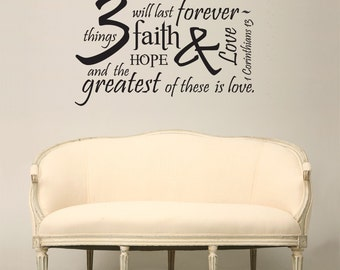 Love is The Greatest - Bible Verse Wall Decal - Typography Wall Decor