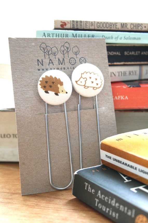 Fabric Buttons Bookmarks Set - Hedgehog Love