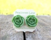 Large Apple Green Rose Flower Stud Earrings // Bridesmaid Gifts // Maid of Honor Gifts // Bridal Party Gifts