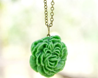 Apple Green Peony Flower Necklace // Bridesmaid Gifts // Bridesmaid Necklace // Rustic Wedding
