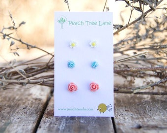 Tiny Pink Coral Flower Rose Earrings // Baby Blue Earrings // Mustard Yellow Daisy Studs