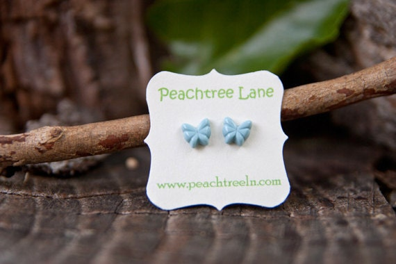 20 PERCENT OFF SALE - Tiny Baby-Blue Butterfly Earring Post Studs Hypoallergenic - Sky
