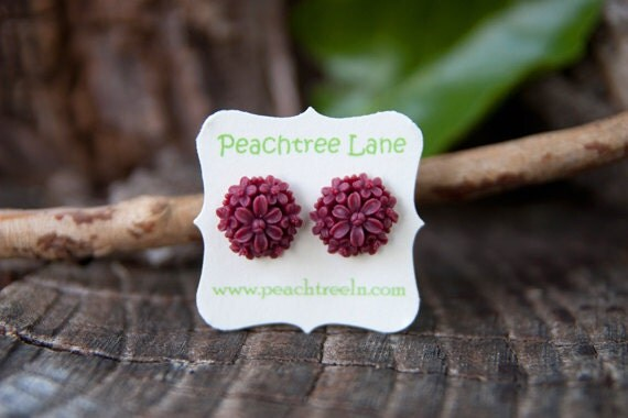 Red Maroon Rose Flower Daisy Stud Earrings // Bridesmaid Gifts