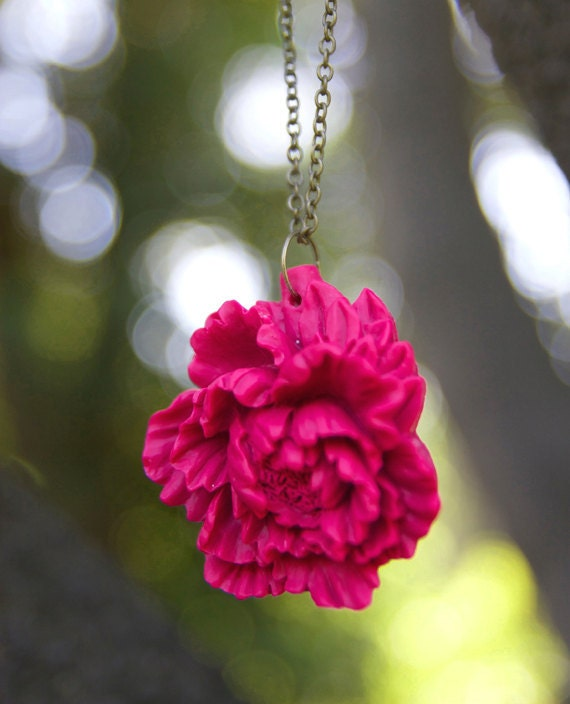 HALF OFF SALE Pink Peony Flower Necklace << Bridesmaid Jewelry >> Bridesmaid Gifts << Wedding Party Gifts >>