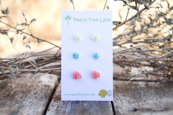 Tiny Pink Coral Rose Earrings // Baby Blue Earrings // Mustard Yellow Daisy Studs //  Bridesmaid Gifts