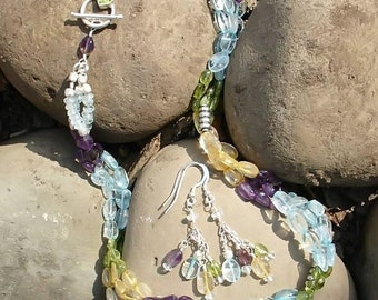 Summer is Coming...Aquamarine, Peridot, Amethyst and Citrine 3 Strand Sterling Necklace and Earrings Set