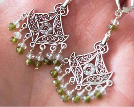 Exotic AAA Vesuvianite White Topaz Sterling Filigree Earrings