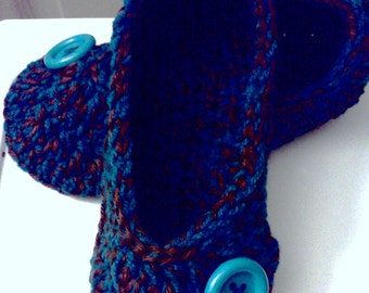 Ladies Slippers......in Ocean Blue and Chocolate,  YOUR size...