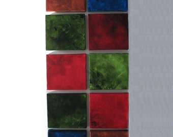 Living Room Decor - Living Room Art - Living Room Wall Art -10 Mini Canvases- Red, Blue, Green, Burnt Sienna
