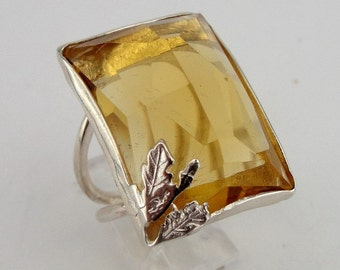 Huge Sterling Silver  Champagne Quartz Ring size 7.5 READY TO SHIP (rd r100
