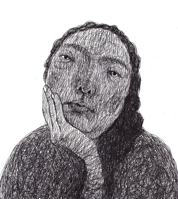 Monotone / ORIGINAL ILLUSTRATION / Black on white / Scribble / Pen drawing / Holding my head / Thinking about something