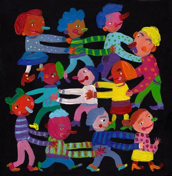 YAY/ original  / ORIGINAL ILLUSTRATION /Children decor/ kids art /original acrylic painting for kids