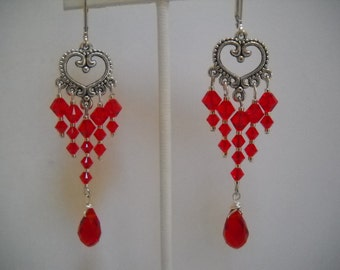 Ladies who love Red Chandeliers Earrings made with Swarovski Crystals