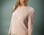 80s pink eyelet sweater- s m