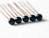 Mystic Black Pearl Hair Pins. Set of 5, 8mm Swarovski Crystals. Bridal Hair Accessories.