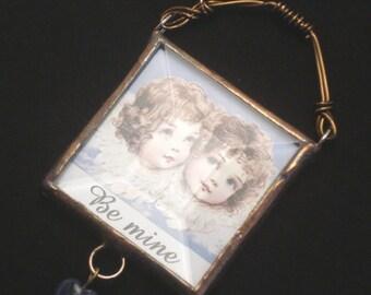 BE MINE twin angels beveled glass mini keepsake or ornament
