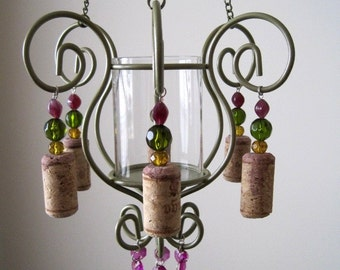 Mini Wine Themed Jewel Tone 1 Candle Chandelier