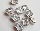 10 pcs of  8mm X 10mmFaceted Rectangle Sew On Clear Rhinestones W/Metal Prong NO NICKEL, LEAD  Rhodium Plated Over Brass
