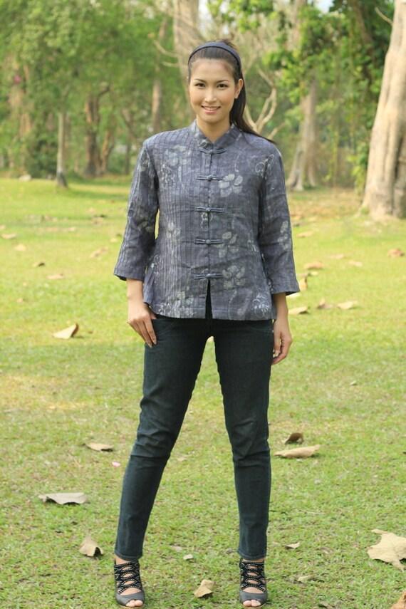 CLEARANCE SALE--M032---Rainflower ( Beautiful batik pleats cotton blouse with flowers motif ) Resereved for triabunnahouse3