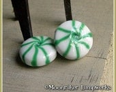 Green  Starlight Mint Peppermint Candy Holiday Lampwork Bead
